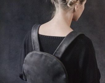 Leather backpack Women backpack  Small backpack  Black leather backpack Black leather rucksack backpack