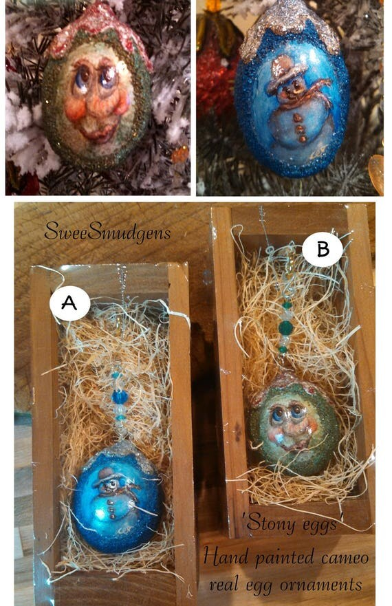 Whimsical hand made hand painted cameo ornament sparkling colorful Christmas exchange real egg ornament snowman elf blue silver red green