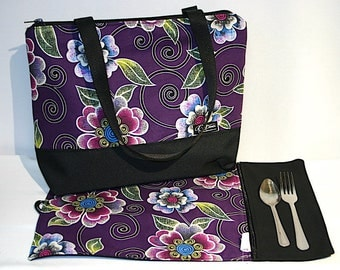 Lunch bag insulated and waterproof, purples flowers pattern, lunch box, school lunch tote