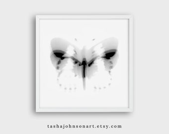 Fluttering Butterfly – 4x4 or 4x6 Print – Abstract Black and White Mixed Media – You Choose Size