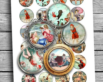 "Seaside Beauties Digital Collage Sheet Printable Circles 25mm 1"" 1.25"" 30mm 1.5"" for Scrapbooking Planner Stickers Magnets Digital Download"