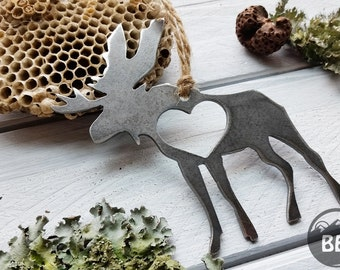 Moose Ornament Rustic Raw Steel Metal Wildlife Woodland Cabin Mountain Christmas Tree Ornament Wedding Favor By BE Creations