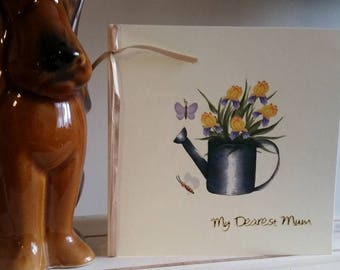 Mum Birthday Card with Watering Can, Gardening, Flowers, Butterfly: Handmade Card for Special Mum - My Dearest Mum