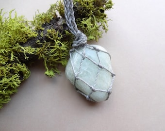 Macrame Aquamarine Heart Chakra knotted pendant necklace jewelry