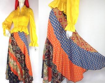 Vintage 1970s patchwork maxi skirt / ANN GALBRAITH  / Festival / Woodstock / Hippie / Peasant / praerie / Boho