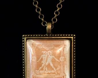 Antique Greek Postage Stamp Necklace
