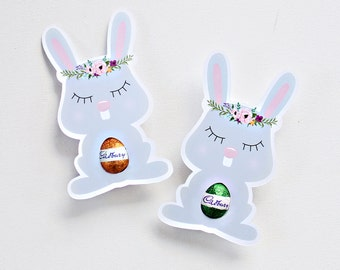12 Bunny Easter Egg Holders. Easter cards. Flower crown rabbit. classroom or workplace gift.