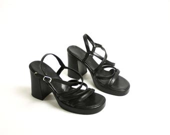 RESERVED! Vintage 90's Black Faux Vegan Leather High Heel Chunky Sandals Strappy EUR 38/ US 7.5