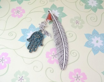 Silver Feather with a Patina Hamsa Hand, Silver Angel Wing and Orange Glass Bead Bookmark/Bookhook - Ready to Ship