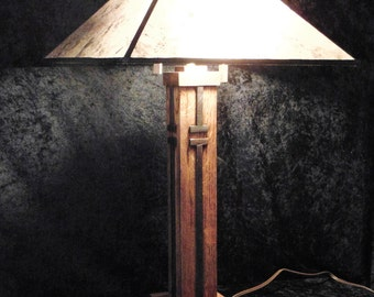 """Table lamp mission - The Los Gatos 26"""" tall Oak with walnut trim, Modern/Contemporay"""
