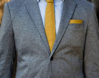 Mustard yellow linen skinny tie