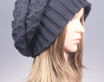 Chunky Slouchy Hat, Black Knit hat, Knit beanie, Winter beanie, Winter hat, Slouchy Beanie, chunky knit hat, Cabled Slouch Beanie