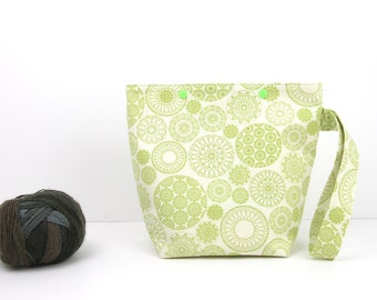 Geometric circles snap project bag, small knitting bag, green sock project storage