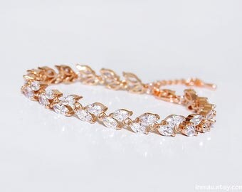 Rose gold bridal bracelet rose gold CZ crystal wedding bracelet Cubic zirconia pink gold marquise tennis bracelet rose gold cluster bracelet