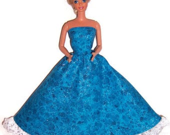 Fashion Doll Clothes-Glittery Aqua Marble Print Strapless Dress