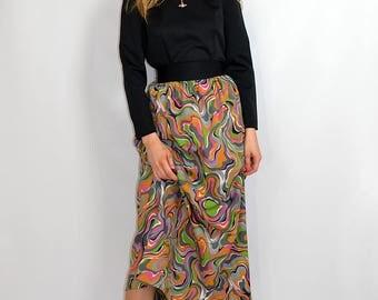 Vintage 70s Abstract Print Boho Festival Party Maxi Dress