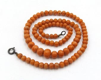 Victorian Natural Salmon Coral Necklace | Antique 20 Inches Graduated Coral Beads