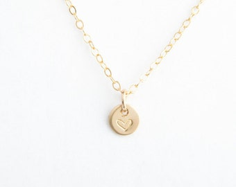 "Tiny Disc Necklace, 1/4"" (6.35mm) Round Disc Necklace, 14k Gold Fill or Sterling Silver"