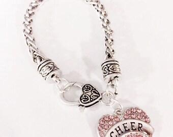 Cheer Gift, Crystal Pink Cheer Bracelet, Heart Gift For Cheerleader Cheerleading Charm Bracelet