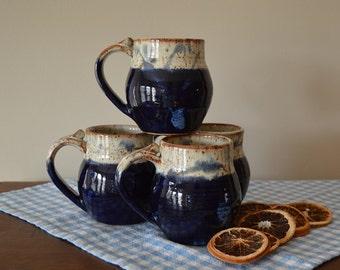 drinking mugs, pottery mugs, mug set, coffee mugs, tea cups, kitchen mugs, drinkware, blue mugs, blue pottery