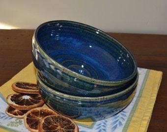 pasta bowls, bowl set, blue bowls, pottery bowls, dessert bowls, fruit bowls, pottery dishes
