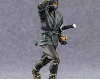 Medieval Toys Figures Japanese Ninja Samurai 54mm Tin Metal  2 1/4 Scale Miniature Action Figure Statuette 1/32 Figure Gift for Man Painted