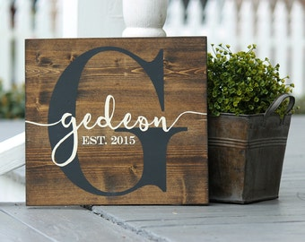 "Wood Last name sign, Wood Family name sign, Custom wood sign, Personalized Wedding gift,Christmas gift, Established sign, Measures 11"" x 12"""