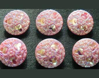 Czech Glass Button Retro Pink Iridescent Flower Shank Wrap Bracelet Sewing Glass Button 22mm-1pc
