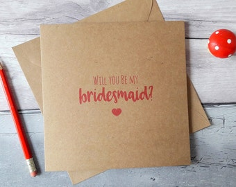 Bridesmaid proposal card, will you be my bridesmaid, maid of honour card, chief bridesmaid card, rustic Kraft wedding cards, cards for her