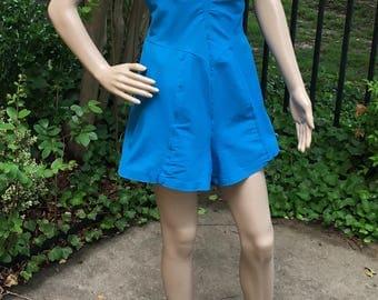 Vintage 50's Swimsuit Bathing Suit Romper XL XXL Turquoise Blue Sea Star Never Worn Plus Size Pinup Playsuit