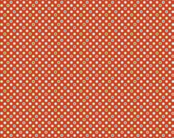 Red Dots Quilt Fabric, Riley Blake Wheels 2 C5044 Red, Deena Rutter, Red, Blue, Green Dot Cotton Fabric Yardage, Boys Quilt Fabric