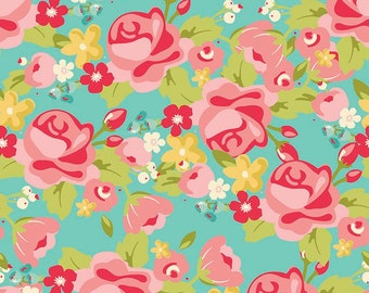 Riley Blake Hello Gorgeous C5690 Main Mint, Pink & Red Floral Quilt Fabric, My Minds Eye, Aqua, Cotton