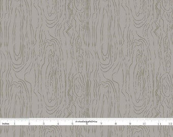 Gray Woodgrain Fabric, Riley Blake C5346 Organica, Emily Taylor, Gray Wood Grain Quilt Fabric, Woodland Fabric, Cotton