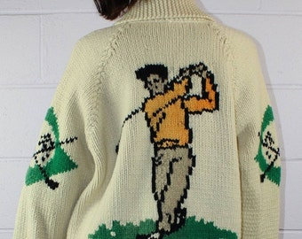 Golf Motif Vintage Curling Sweater