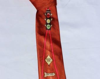 1950s Vintage Road Signs Men's Tie