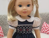 Navy & White Smocked 14 Inch Doll Dress - Easter Doll Dress - Old-Fashioned Heirloom Dress - American Made Girl Doll Clothes - Wellie Wisher