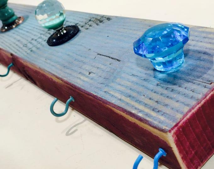 Jewelry holder /necklace hooks /wooden wall coat rack /makeup organizer /hanging storage /reclaimed wood art aqua 4 hooks 5 blue glass knobs