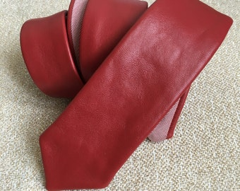 Skinny Leather Tie | Red Leather Tie with Woven Cotton Lining | Skinny Tie | Fathers Day Gift | Wedding Tie | Gifts for Him