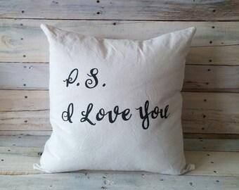 P.S. I Love You Throw Pillow, Pillow Cover, Decorative Pillow