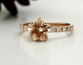 14K Rose Gold Tulip Engagement Ring Diamond Semi Mount! Set your Diamond, Gemstone, Moissanite. La Tulipe USA Made