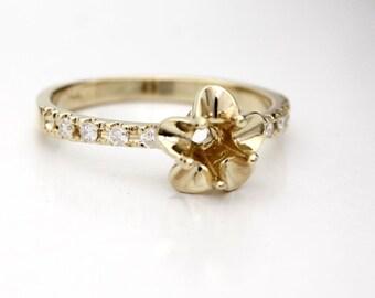 14K Yellow Gold Tulip Engagement Ring Diamond Semi Mount! Set your Diamond, Gemstone, Moissanite. La Tulipe USA Made