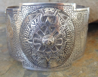 Maciel - Vintage Mexican Sterling Silver Wide, Heavy Cuff Bracelet ~ 57 Grams