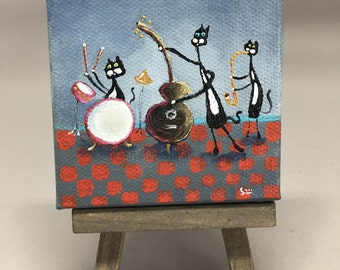 mini painting, on easel, hand painted, tuxedo cat musicians, ooak, 3x3, jazz, blues, music, band, ooak, smigielski