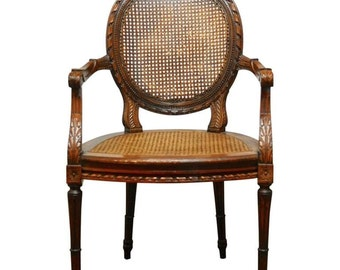 Neoclassical French, Louis XVI, Caned Fauteuil