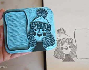 Girl stamp with word balloon // girl rubber stamp // hand carved