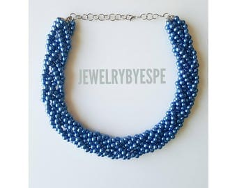 Navy Blue Necklace Statement Necklace Pearl Necklace Blue Wedding Jewelry Dark Blue Multi Strand Necklace