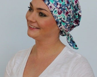 Gabrielle Pre-Tied Head Scarf -Women's Cancer Headwear, Chemo Scarf, Alopecia Hat, Head Wrap,  Head Cover for Hair Loss - Floral Heather