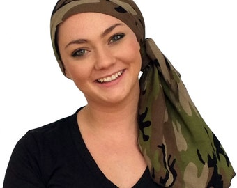 Jessica Pre-Tied Head Scarf, Women's Cancer Headwear, Chemo Scarf, Alopecia Hat, Head Wrap, Head Cover for Hair Loss - Camo