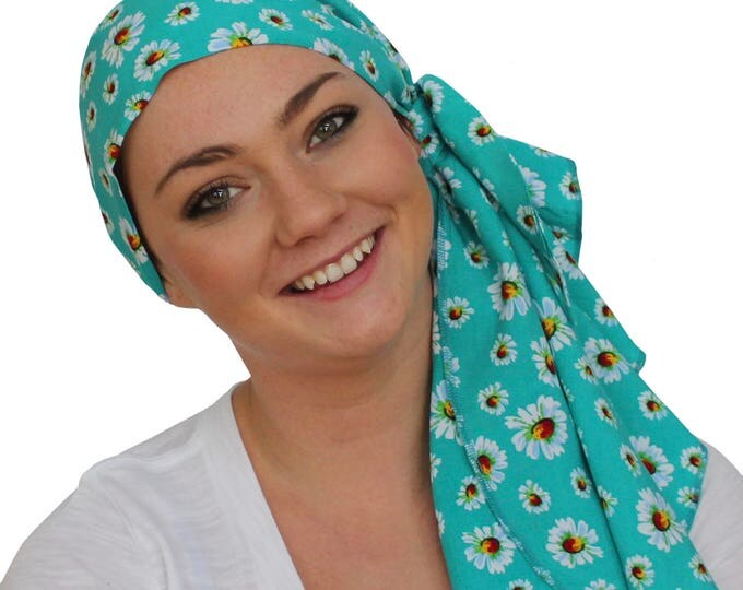Featured listing image: Jessica Pre-Tied Head Scarf, Women's Cancer Headwear, Chemo Scarf, Alopecia Hat, Head Wrap, Head Cover for Hair Loss - Teal Green Flowers
