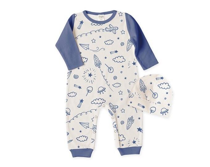 Newborn Boy Coming Home Outfit, Newborn Boy Outfit, Baby Boy Romper, Baby Boy Beanie, Baby Boy Spaceship Airplane Set TesaBabe RC810SKIO0000